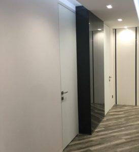 Скрытые двери Pride стекло матовое алюминиевое обрамление стеновые панели стекло