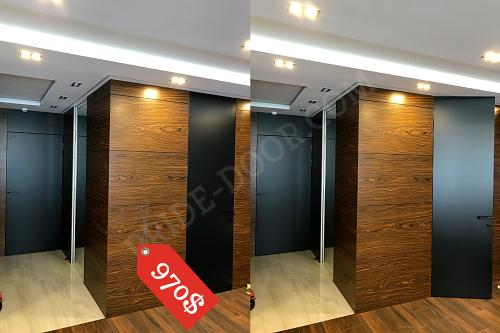 Дверь скрытого монтажа PRIDE DOOR, крашеная по RAL/NCS со стеновыми панелями до потолка, без верхней планки алюминевой коробки