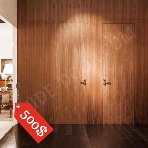 Двери без наличников PRIDE DOOR шпонированные со стеновыми панелями (шпон орех)
