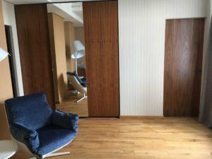 двери без наличников и мебель шпон орех